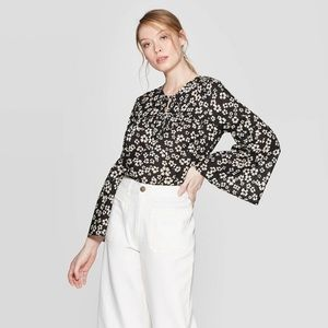Who What Wear Floral Ruffle Sleeve Blouse